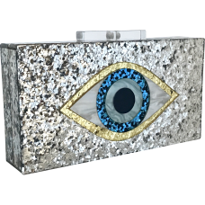 Glitter Eye Acrylic Clutch - Silver & White