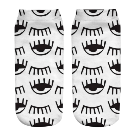 Women's Socks - White with Winking Eyes