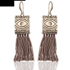 Eye Design Tassel Earrings