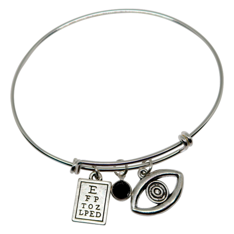 Bracelet with Eye Chart, Black Swarovski Crystal & Eye