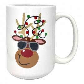 Reindeer with Aviator Sunglasses Coffee Mug 15 oz