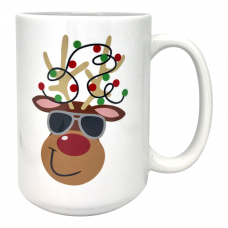 Reindeer with Aviator Sunglasses Coffee Mug 15 oz