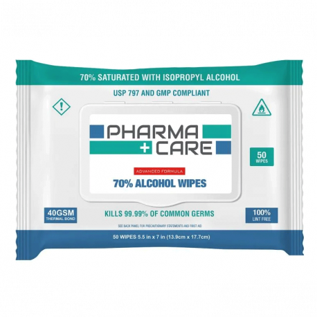 PharmaCare 70% Alcohol Wipes