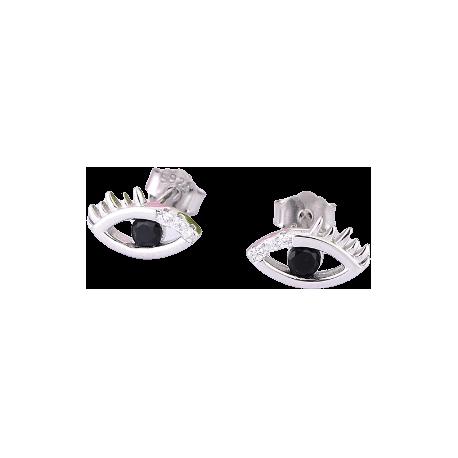 Sterling Silver Eye Stud Earrings with Black Stone