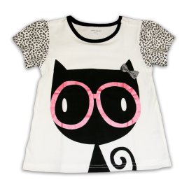 Little Girl Cat with Pink Glasses Tee