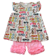 Glasses Shirt & Pink Ruffle Shorts Set