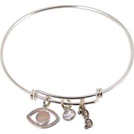 Bracelet with Eye, Swarovski Crystal Bead, & Glasses