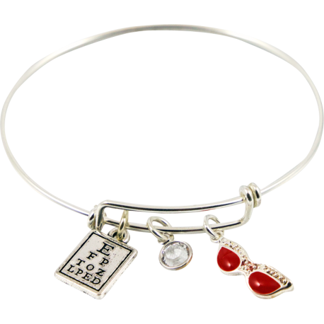 Bracelet with Eye Chart, White Crystal & Red Glasses