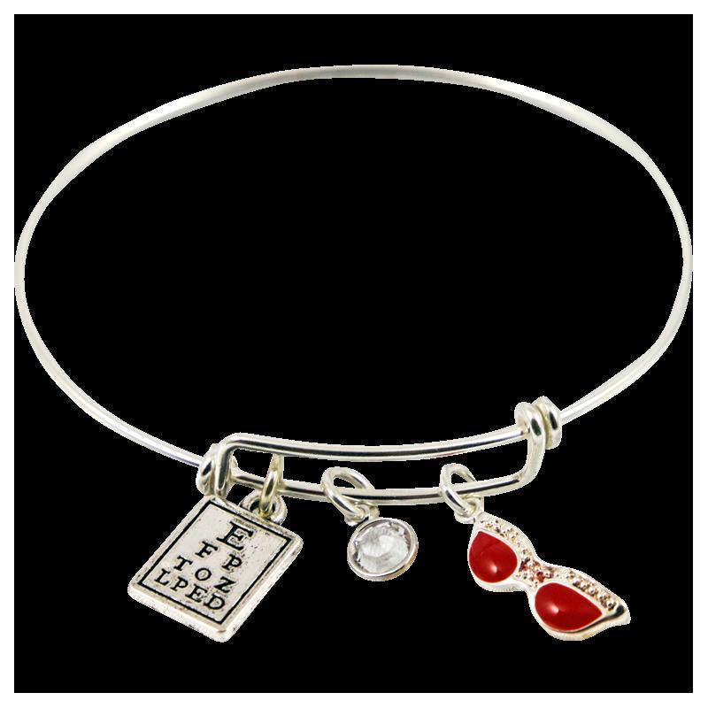 Bracelet With Eye Chart, Swarovski Crystal Bead & Red
