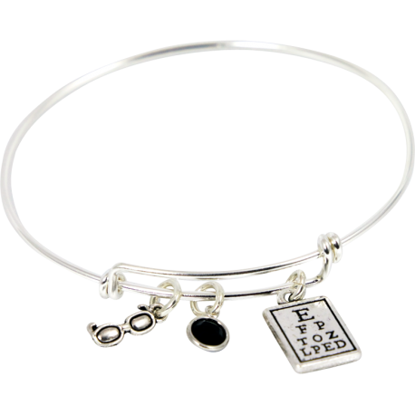 Bracelet with Eye Chart, Black Crystal & Glasses