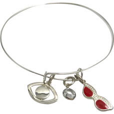 Bracelet with Eye, Swarovski Crystal Bead & Red Glasses
