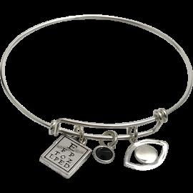 Bracelet with Eye Chart, Black Swarovski Crystal & Eye