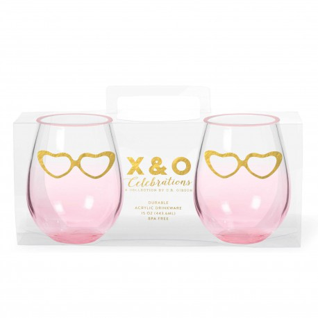 gold hearts stemless wine glasses