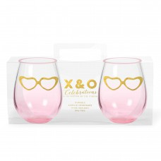 Stemless Wine Glasses - Gold Hearts (Set of 2)