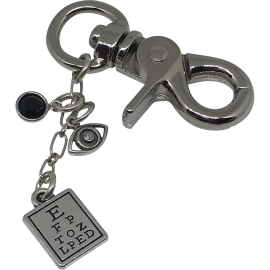 Keychain with Swarovski Crystal Bead, Diamond Eye, & Eye Chart