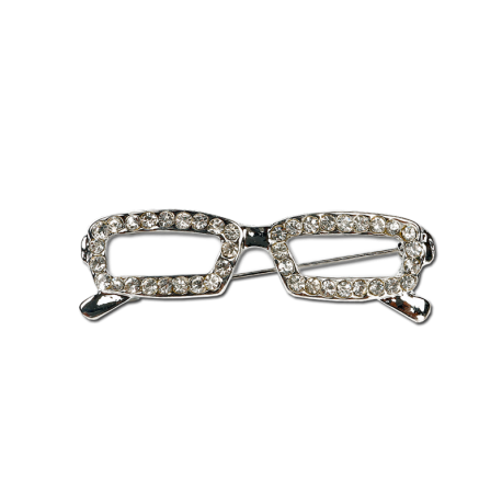 Silver Glasses with Rhinestones Fashion Pin