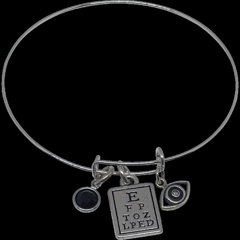 Bracelet With Black Swarovski Crystal Bead, Eye Chart