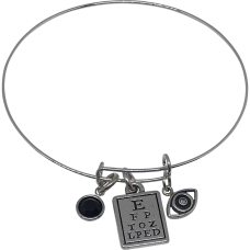 Bracelet with Black Swarovski Crystal Bead, Eye Chart & Eye with Diamond Pupil