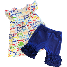 Glasses Shirt & Blue Ruffle Shorts Set