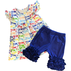 Glasses Shirt & Blue Ruffle Shorts Set