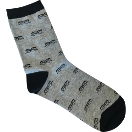 Men's Socks - Black Glasses on Grey
