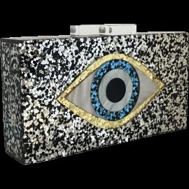 Glitter Eye Acrylic Clutch - Black & Silver