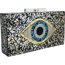 Glitter Eye Acrylic Clutch - Black & Silver